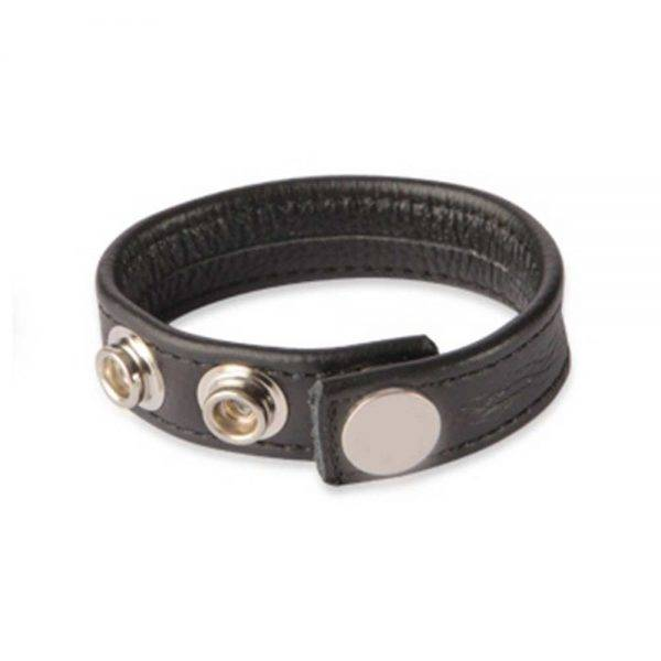 3 Snap Leather Cock Ring - Black BONERRINGS Leather -