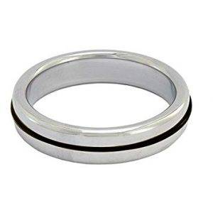 Stainless Steel Slim Cock Ring With Black Band 40 mm.