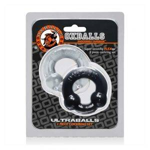 [TPR] Ultraballs 2-Pack Cockring Black + Clear BONERRINGS TPE | TPR Oxballs